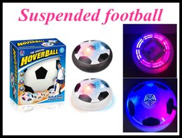 Wholesale Toy Suspended Air - LED Floating Football Disc Gliding Ball Lights up Air Colorful Outdoor Hover Air Suspended Football Soccer Black White with Retail Box DHL