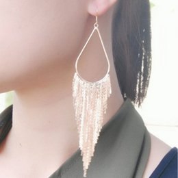 Wholesale Trade Chandeliers - Explosive exaggerated long section of metal tassel large earrings European and American foreign trade nightclub trend earrings