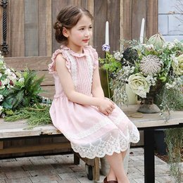Wholesale Cute White Party Dresses - Everweekend Girls Lace Embroidered Ruffles Princess Party Dress Summer Cute Children Pink and White Color Holiday Dresses