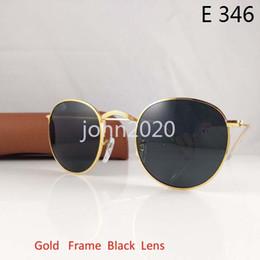 Wholesale Gold Eyewear - 1Pcs Hot Fshion Men's Women's Alloy Sunglasses Retro Round Eyewear Gold Frame Black Glass Lens Sun Glasses 50mm With Brown Case