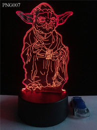 Wholesale Egg Turning - The Master Yoda 3D LED Night Light Touch Switch All Colors Flash In Turn and gift to friend