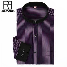 Wholesale Stand Up Men Shirt - Wholesale- 2016 Men Dress Shirt Spring New Arrival Long Sleeve Business Men Fashion Individuality Simple Stand-up Collar Stripe Shirt M028