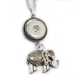 slide snap button Promo Codes - 2017 New Elephant Pendant Necklace 18mm Snap Button Jewelry Metal Necklace With Link Chain Free Shipping 8173