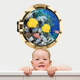 Wholesale Fishing Wall Decals - Submarine Porthole View 3D Wall Sticker Underwater Sea Animals Wallpaper Poster Shark Jelly Fish Ocean Scenery Wall Graphic Art Wall Decals