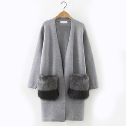 Wholesale Loose Knit Sweaters For Women - 2017 Autumn Sweaters for women Loose Long sleeve with Pocket women Cardigan Gray and Navy blue color
