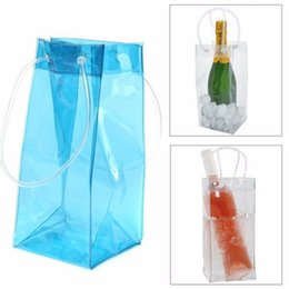 Wholesale Drinks Bucket - Wholesale 100pcs lot PVC Wine Beer Champagne Drink Cooler Chiller Drink Pouch Wine Bottle Ice Bag Bucket For Parties Practical