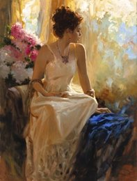 Wholesale Huge Abstract Oil Painting - Framed, Lots Wholesale ,R341#,Huge Pino Daeni Portrait, High Quality Handpainted Wall Decor Art Oil Painting Multi Sizes can be customized
