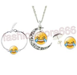 Wholesale 13 Style Emoji Jewelry Sets QQ WeChat Expression Glass Cabochon Silver Bracelet Earrings Necklace Sets For Women Fashion Jewelry Gift