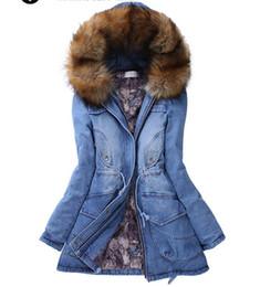 2019 mujeres de sombrero de piel real verde El invierno caliente de piel chaqueta de mezclilla para las mujeres largas de la capa delgada de algodón chaquetas de lana abrigos esquimales Napka Jaqueta Femenino Jaquetas Outwear