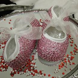 Wholesale Baby Diamond Shoe - Wholesale- free shipping Pink rhinestone Crystal Baby Girl Child princess shoes handmade Bling diamond bead soft shoes customize any name