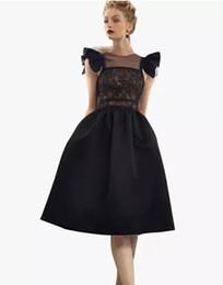 Canada 2017 nouveau design femmes rétro Hepburn style flare manches dentelle patchwork haute taille robe de bal midi longue robe partie vestidos SML cheap designs for gowns new Offre