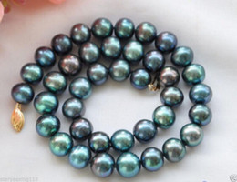 Wholesale Peacock Freshwater Pearl Necklace - FREE SHIPPING>>New 14K 9-10mm PEACOCK BLACK ROUND Freshwater cultured PEARL NECKLACE