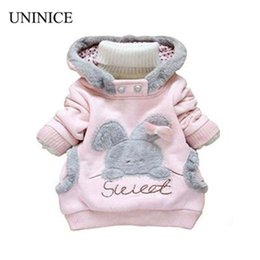 Wholesale clothes coats for rabbits - Wholesale- Retail Children Clothing Cartoon Rabbit Fleece Outerwear girl fashion clothes  hooded jacket  Winter Coat for 2-7y baby 2 colors