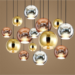 Wholesale Copper Pendant Ball Lamp - 3 Heads Modern Tom Dixon Copper Fashion Glass Ball Dixon Bubble Best Ceiling Lighting E27 110V 220V Pendant Lamps