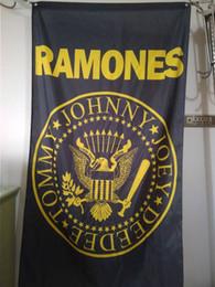 Wholesale Rocking Music - Ramones Flag 90 x 150 cm Polyester Punk Rock Band Music Festival Banner