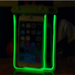 Caso de nota led online-Universal LED Luminoso Funda de la bolsa a prueba de agua Clear PVC Night Light Bag Fundas de la cubierta seca bajo el agua para el iphone 6 6s 7 plus s6 s7 s8 note 4 5