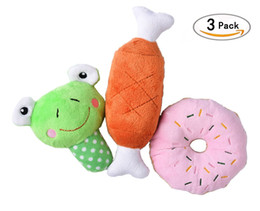 Wholesale Plush Toys For Small Dogs - Free shipping Funny Dog Squeak Chew Pet Toy 3 pcs set Squeaky Plush Dog Cat Lovely Toys for Small Puppies Interactive Toys