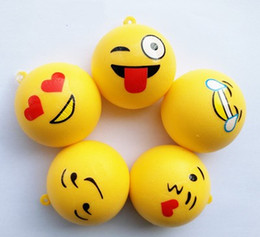 Wholesale Unisex Strap Toys - 1 5cr Funny Squishy Emoji Expression Slow Rising Squeeze Toys Cell Phone Handbags Charm Straps Yellow Squishies Bread Toy Pendant CR