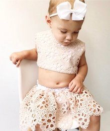 Wholesale Infant Tutu Skirt 2pcs - Baby Girls Clothing Sets Infant Outfits New Summer Lace Hollow Out Tops + Skirt 2pcs Suits Summer Sweet Pricness Toddler Clothes C1330