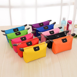 Wholesale Chinese Cosmetic Cases - Wholesale Chinese Promotion Cheap Women Dumplin Pattern Plain Color Solid Lady Nylon Cosmetic Bag Makeup Beauty Case
