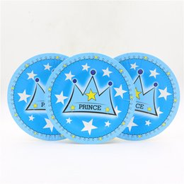 Wholesale Crown Baby Shower Favors - Wholesale-10pc\lot Baby Shower Cartoon Theme Kids Favors Blue Crown Paper Plates Happy Birthday Party Decoration Dishes Tableware Supplies
