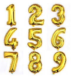 Wholesale Gold Decorative Foil - 30 Inch Large Size Shining Gold Number Foil Balloons Birthday Wedding Party Christmas Decoration Kids Toy 12B005