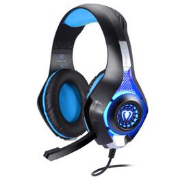Wholesale Headphones Microphone For Pc - Headset for PS4 PSP PC Headphone Tablet Laptop Microphone, 3.5mm Headband Led Light GM-1 Headphone