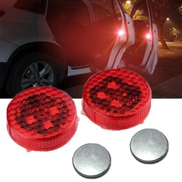 Wholesale Amber Led Flashing Light - Waterproof Wireless Car Door Warning Light with Red Strobe Flashing Led Door Open Safety Reflector for Universal Vehicle Anti rear-end Colli
