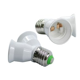 Wholesale e27 light bulb holder socket - 10Pcs E27 to 2 E27 lamp Holder Converter Socket Conversion light Bulb Base type 2E27 Y Shape Splitter Adapter Fireproof Material