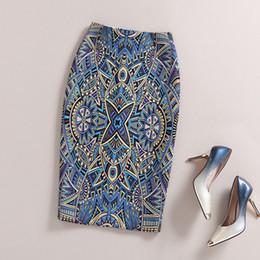 Wholesale Tight Skirt Pattern - Ladies Elegant Baroque Style Geometric Pattern Print High Waist Tight Pencil Skirt Wear To Work Office Lady Wear Bottom