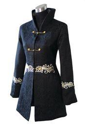Wholesale Chinese Style Jackets Women - Wholesale- Fashion Jacket Chinese Tradition style Cotton Women Long Coat Outerwear