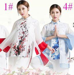 Wholesale Tai Chi Martial Art Fan - Women 's tai chi dress three - piece sets of summer models fan sleeve tai chi clothing cotton and linen chiffon printing