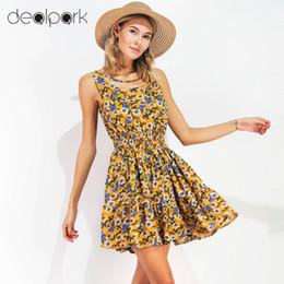 Wholesale Cheap Empire Waist Mini Dresses - 2017 Summer Beach Dress Casual Elastic Waist Beautiful Cheap Dresses Sleeveless Print Floral Robe Femme Chiffon Vestidos q1113