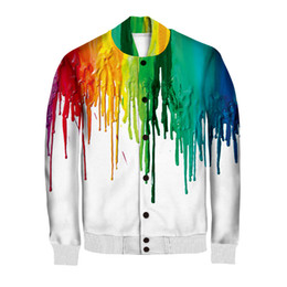 Wholesale Women Plus Size Baseball Jacket - Wholesale- Autumn Winter Sportswear Jackets Women Men's Cotton Baseball Jacket 3D Rainbow Print Hip Hop Zipper Jacket Coats Plus Size M-5XL
