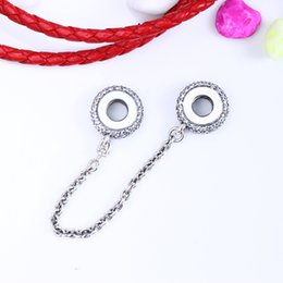 Wholesale Inspiration Days - Authentic 925 Sterling Silver Pave Inspiration Safety Chain Charm Fit Original Charm Bracelet Jewelry Gift For Lover