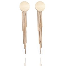 Wholesale Metal For Earings - brincos fashion jewelry European and American fashion metal simple round tassel earrings alloy new earrings for women earings