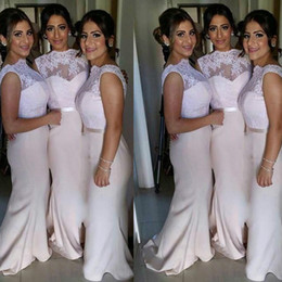 Wholesale Evening Bridemaid Dress - 2017 Cheap African Nigerian Lace Long Bridesmaid Dresses Mermaid Evening Party Dress Sexy Backless Jewel Bridemaid Dresses