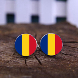 Wholesale Wholesale Romania - 2017Hot Glass Cuff Shirt Buttons Romania Flag Cufflink Keychain Clothing For Men Gift Luxembourg Flag Cufflinks Keychain For Wedding Jewelry