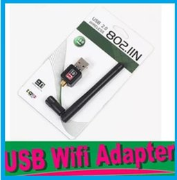 Wholesale Usb Wireless Lan Dongle - USB External Dongle Wireless wifi Wi Fi Wlan Adapter 150M 150Mbps LAN Network Card Router for PC Laptop 802.11b g n+5dB Antenna