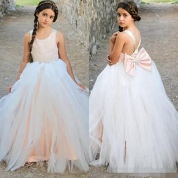 Wholesale Baby Blush - White And Blush Pink Girls Pageant Gowns With Beaded Big Bow Spaghetti Flower Girl Dresses For Wedding Children Baby Formal Wear