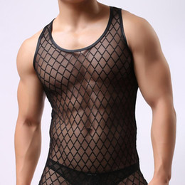 Camiseta de hombres online-Al por mayor-Negro Mens Sexy Undershirts Tank Tops Hombres Singlet Chaleco de malla transparente Net Yarn camiseta Body GAY Wear Sheer
