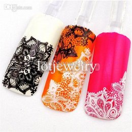 Wholesale Browning Nail Stickers - Wholesale-2015 Newest 3D Black White Lace Design Nail Art Sticker Decals Nail Decoration DIY Tool High Quality Wholesale