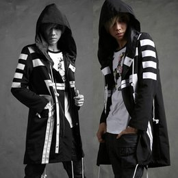 Wholesale Trench Coat Hip Hop - Wholesale- Men fashion hooded long jacket trench coat black white color windbreaker loose overcoat street fashion hip-hop outerwear ,Q91