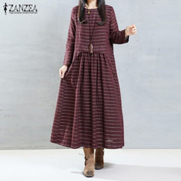 Wholesale Dresses Empire Waist Short - Wholesale- Casual Loose Long Maxi Dress 2016 Autumn ZANZEA Women Vintage Striped Dresses O Neck Long Sleeve High Waist Vestidos Oversized