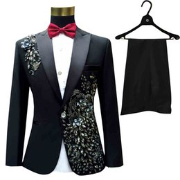 Wholesale Costume Theatre - Wholesale- Brand Men Suits Sequins Tuxedo Prom Groom Compere Male Singer Blazer Slim Fit Black Costume of theatre Jacket+Pants+Bow tie
