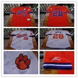 Wholesale Beer Jersey - Clemson Tigers College Baseball Jerseys Seth Beer 28 Home Road Away Orange White 100% Stitched Logos Shirts Good Quanlity