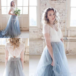 Wholesale Dusty Pink Ivory Dresses - 2018 Autumn Chic Country Wedding Dresses Dusty Tulle Court Train Ivory Lace Skirt Short Sleeve Cheap Sheer Bohemia Wedding Bridal Gowns