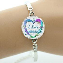 Wholesale Gymnastics Charm Bracelet - Fashion colorful Gymnastics women bracelet beauty girls sports lovers gifts bracelets Love Gymnastics jewelry charm SP121