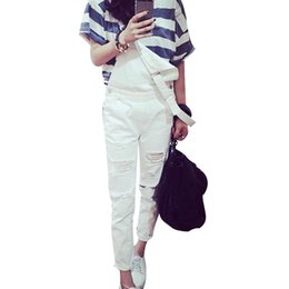 Wholesale Wearing Jeans Summer - Wholesale- Summer Ladies European White Denim Overalls Jeans Woman Worn Street Loose Distressed Fashion Pantalon Femme Spaghetti Trousers