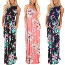 Wholesale Cotton Sundresses Long - HLA063 Women Summer Sexy Pleated Maxi Tank Dresses Ladies O-Neck Flora Printed Long Vest Dress Female Sundress Vestidos Loose Plus Size